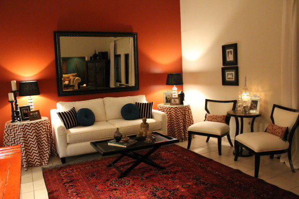 301 moved permanently - Burnt orange feature wall living room ...