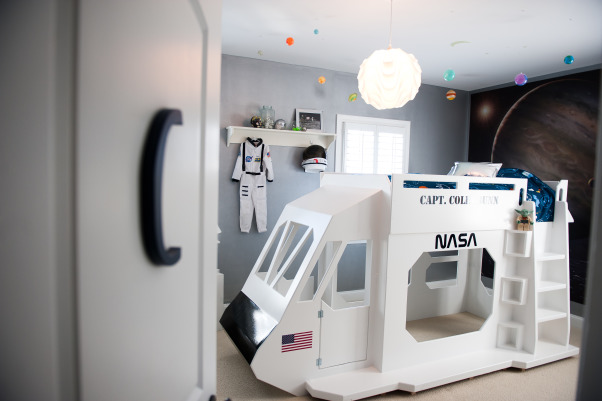 Colin's Outer Space Room, My son loves planets, spaceships, Star Wars, astronomy, and basically anything to do with outer space.  This room is all of those elements combined., A shot from his door looking in., Boys' Rooms Design