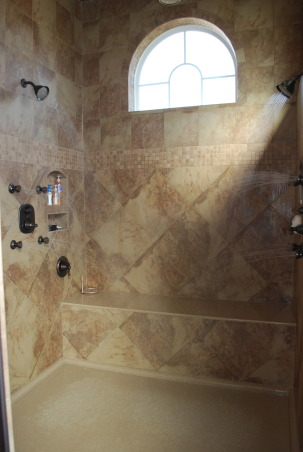 Bathroom remodel/addition, Master bathroom created to create a relaxing functional space., Steam shower with two entrances to allow one to exit into a drying room with warming lights,towels and lotions at your finger tips.  This space leads  directly into the closet.        , Bathrooms Design