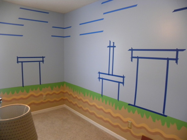 mario bros., all of the details have been hand painted to look just like super mario bros game., after i painted the bottom half, had to tape my design, Boys' Rooms Design