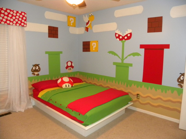 mario bros., all of the details have been hand painted to look just like super mario bros game., everything on the wall has been hand painted, bought a platform bed so it didn't cover up to much of the artwork :) , Boys' Rooms Design