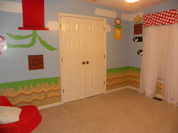 mario bros., all of the details have been hand painted to look just like super mario bros game., Boys' Rooms Design