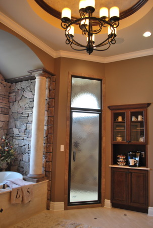 Bathroom remodel/addition, Master bathroom created to create a relaxing functional space., Small coffee bar.  Dome ceiling was glazed with gold and silver tones that are reflective when the lights on       , Bathrooms Design