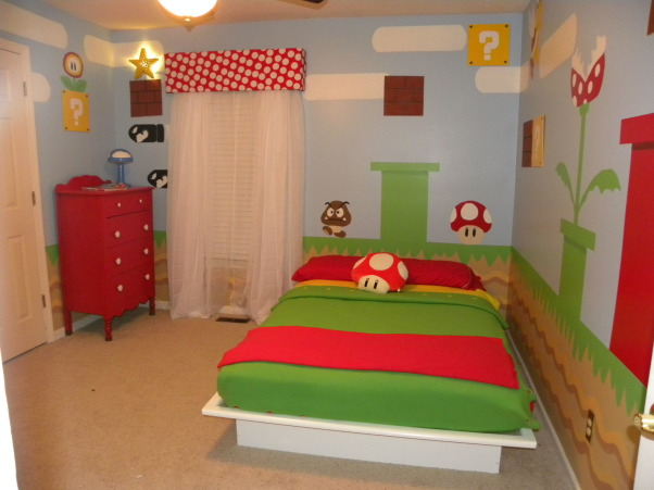 mario bros., all of the details have been hand painted to look just like super mario bros game., cut and painted bricks on wood to be able to move around when rearranging furniture , Boys' Rooms Design