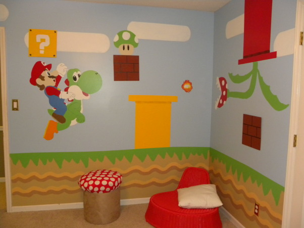 mario bros., all of the details have been hand painted to look just like super mario bros game., made stool to look like a mushroom :) , Boys' Rooms Design
