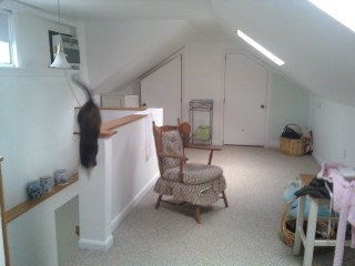 Bungalow Attic Bedroom, Updated attic room.  I use it as a sleeping room only because the walls are too short for bureaus - I always hit my head.   Hope to use the other end as maybe sewing area.  Need help with colors, ideas, visions., Bedrooms Design