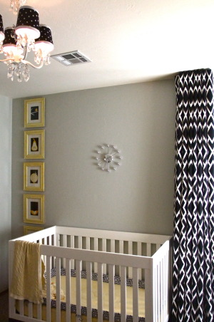 Black, white, and yellow nursery, The nursery is finished for now.  Black, white, and yellow were chosen so that the room can evolve as we have more children.  , Crib, clock, and artwork.  Wall color is Gray Owl by Benjamin Moore.  Clock is from LampsPlus. , Nurseries Design