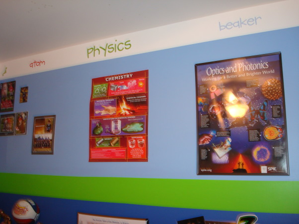 Science theme, My younger son loves science so we tried to make a room that he could grow with. we combined different sciences with posters and real objects. , Boys' Rooms Design