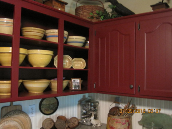 70s KITCHEN UPDATE ...COUNTRY KITCHEN, THIS 70 s KITCHEN HAS BEEN A SLOW UPDATE ..IT STARTED WITH ME PAINTING THE CABINETS RED MANY YEARS AGO ..WITH VERY LITTLE COST ,ITS COME A LONG WAY .., YELLOW WARE        , Kitchens Design