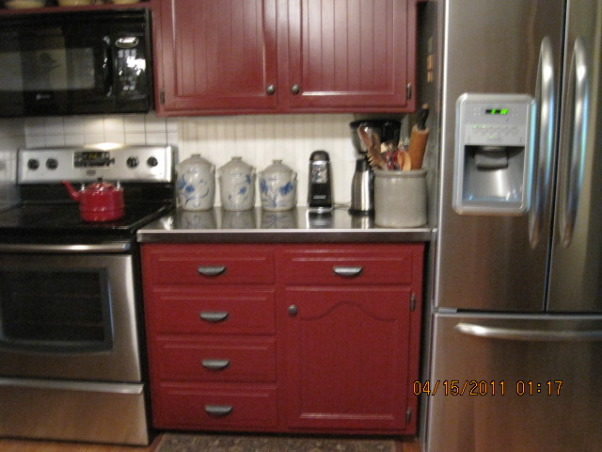 70s KITCHEN UPDATE ...COUNTRY KITCHEN, THIS 70 s KITCHEN HAS BEEN A SLOW UPDATE ..IT STARTED WITH ME PAINTING THE CABINETS RED MANY YEARS AGO ..WITH VERY LITTLE COST ,ITS COME A LONG WAY .., Kitchens Design