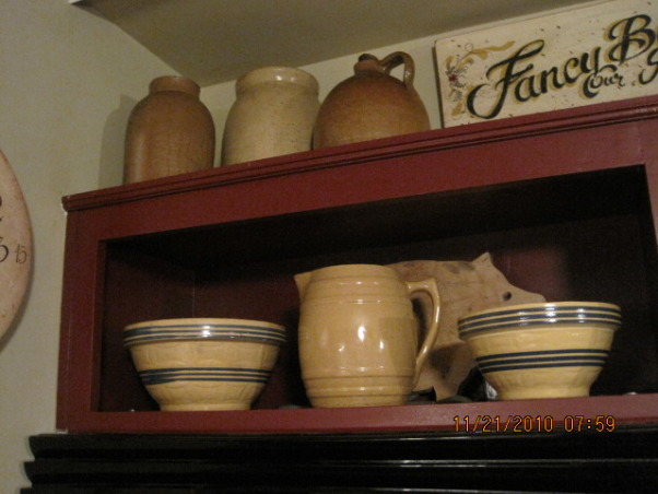 70s KITCHEN UPDATE ...COUNTRY KITCHEN, THIS 70 s KITCHEN HAS BEEN A SLOW UPDATE ..IT STARTED WITH ME PAINTING THE CABINETS RED MANY YEARS AGO ..WITH VERY LITTLE COST ,ITS COME A LONG WAY .., STONEWARE        , Kitchens Design
