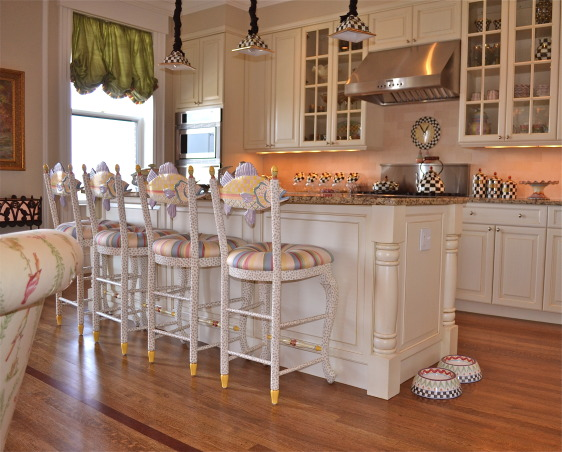 Whimsical MacKenzie Childs Kitchen, This is a kitchen that I did in the Back Bay in Boston.  It is a fun and whimsical space with the use of quite a bit of MacKenzie Childs pieces.  It all started with the fish stools!     , Kitchens Design