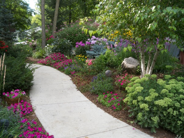 Summer's Reward, A one acre lot full of annual and perennial beds in minnesota, front walk        , Gardens Design