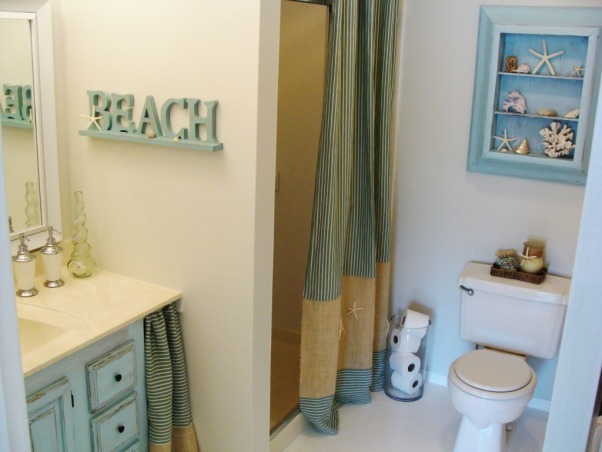 Beachy Guest Bath update under U$60!  :), When we first moved in, our guest bathroom was desperate for some TLC. Although we have big future plans for it, we decided to go with a quick update for now. This update was basically paint, repurposing things, sewing plus accesories. To read more, you can go here: http://www.whiteinspirations.com/guest-bathroom/guest-bath-update/, After... Ah, delight. Everything was painted, including linoleum floors.           , Bathrooms