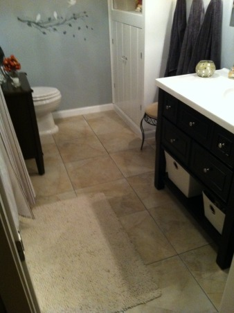 """1953 Mid-Century Modern Guest bath, 1953 style ranch-mid-american modern. 60 years of overlay & bad design completely gutted. Pier & beam. No insulation. Tile installed on 2"""" thick concrete walls & floor., Bathrooms Design"""
