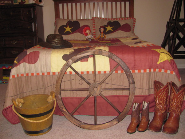 Western, Texas, Ranch Room, This is my 3 year old grandson's room. My house has a western/southwestern decor therefore a little buckaroo room is perfect for him., Faux wood bucket is used to hold toy cars, balls, and other small toys.      , Boys' Rooms Design