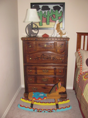 Western, Texas, Ranch Room, This is my 3 year old grandson's room. My house has a western/southwestern decor therefore a little buckaroo room is perfect for him., Painting above dresser was done by one of my students, Nicole Garcia. Years after having taught Nicole in my Kindergarten class, she and her mother gave me the painting for my southwestern decor. It fits the motif perfectly. $5 wooden rocking horse purchased from the artist who painted it. Her husband would cut and put them together and she would paint them. They were moving out of state and had several to get rid of. I was at the right place at the right time.      , Boys' Rooms Design