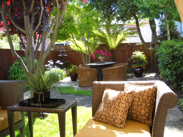Change Is In The Air, Small City Garden.  I Love change. Simple changes produce big results!, My 25 x 65 foot city backyard.  View from the covered lounge area looking towards the back of the yard. , Gardens Design