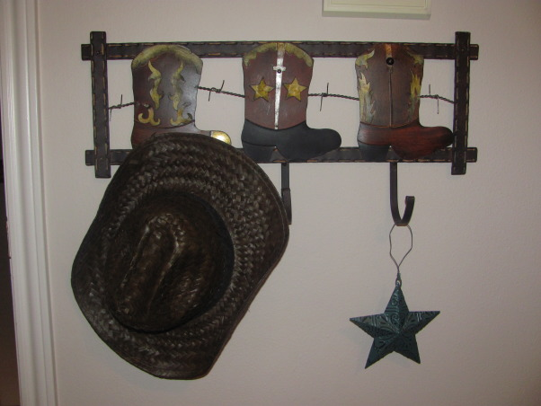 Western, Texas, Ranch Room, This is my 3 year old grandson's room. My house has a western/southwestern decor therefore a little buckaroo room is perfect for him., Hook rack hung low so he can later put his backpack, jacket, etc...   , Boys' Rooms Design