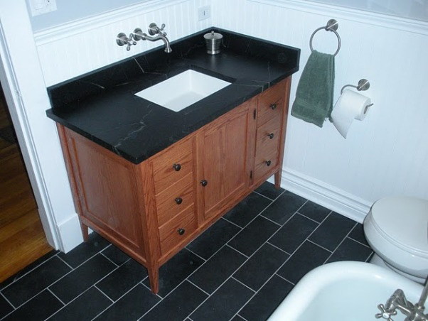 1910 Bungalow Bathroom, Bathroom remodel in my 1910 bungalow.   Everything was DIY including the medicine cabinet and vanity.  Tried to balance a craftsman look with modern updates.  The counter top is soapstone and the floor is Brazilian slate with elect radiant heat system.   The tub is original to the house so it was kept.   , Bathrooms Design