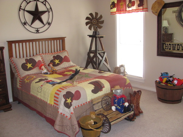 Western, Texas, Ranch Room, This is my 3 year old grandson's room. My house has a western/southwestern decor therefore a little buckaroo room is perfect for him., New view of bed with bench., Boys' Rooms Design