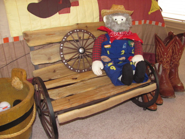 Western, Texas, Ranch Room, This is my 3 year old grandson's room. My house has a western/southwestern decor therefore a little buckaroo room is perfect for him., I found the cutest little western wagon wheel bench on clearance at Hobby Lobby and placed it at the foot of the bed. This Old Man gets to sit on it., Boys' Rooms Design