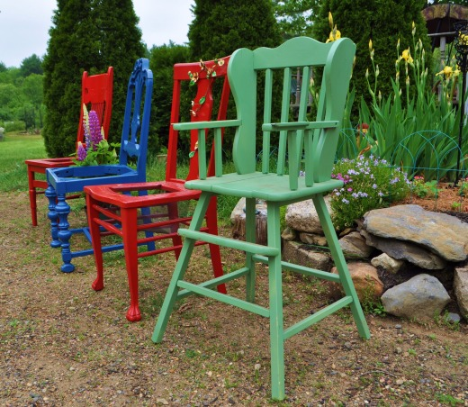 HAVE A SEAT, I fined them at yard sales for under $3.00 and two cans of paint each, I clean them, I paint them, I plant them, I give them as gifts, I give them for donation, I give them with love., Even a old high chair, place a pot on the seat., Gardens Design