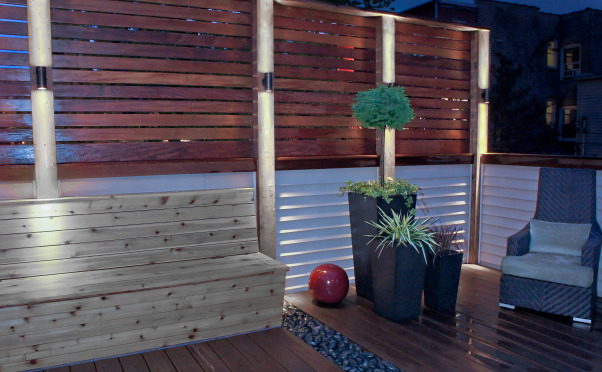 Phase II - Zen Deck Transforms City Alley from Wire Nightmare!, Space is limited in the city so I was challenged with how to turn a city alley into the zen paradise I wanted.   It started with building the actual deck above a garage and turned into my first attempt to put all the knowledge I gleaned from HGTV into practical use.  I can't thank HGTV enough for showing me the ropes!!!, Then bench still needs to be stained, the cushions made, and the fire pit added to finish off the job.   Slowly but surely it is coming together!!!             , Outdoor Spaces