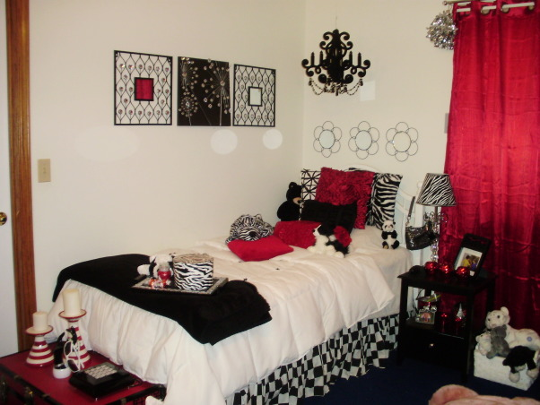 Glamour chic tween bedroom, I am in the process of redoing my daughters bed room.  We decided to do black red and white with silver accents.  She also wanted a little zebra throughout.  Looking for a rug and and black chair.  Also wanting to put ceiling to floor floating shelves on one of the walls and paint it a medium grey., Girls' Rooms Design