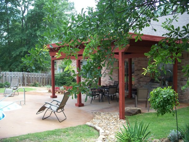 Backyard Makeover, The backyard was fenced in with a pool but needed a design.  we did a complete makeover with a pergola over the original patio. , Yards Design