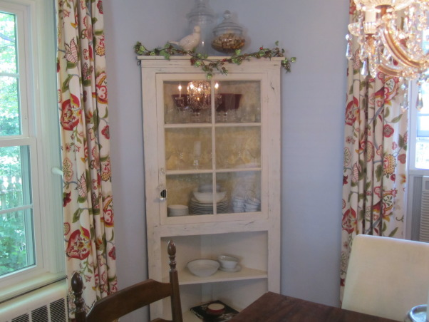 """My """"Blue"""" dining room, Bohemian dining room with traditional pieces and different color fabrics.  Large chalkboard to write the menu of the meal!  This is a 1930's cape cod house. Let me know your thoughts of this space!  *Please excuse the air conditioning unit in the dining room....we are about to get central air! :), china cabinet       , Dining Rooms Design"""
