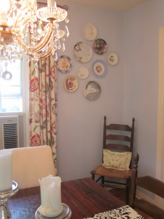"My ""Blue"" dining room, Bohemian dining room with traditional pieces and different color fabrics.  Large chalkboard to write the menu of the meal!  This is a 1930's cape cod house. Let me know your thoughts of this space!  *Please excuse the air conditioning unit in the dining room....we are about to get central air! :), corner view with antique and new plates hung on the wall to add color.       , Dining Rooms Design"