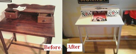 Thrift Store Vanity Refurbish, Vanity...$15 Mirror $8 Paint $10 Total =$33, before & after , Girls' Rooms Design