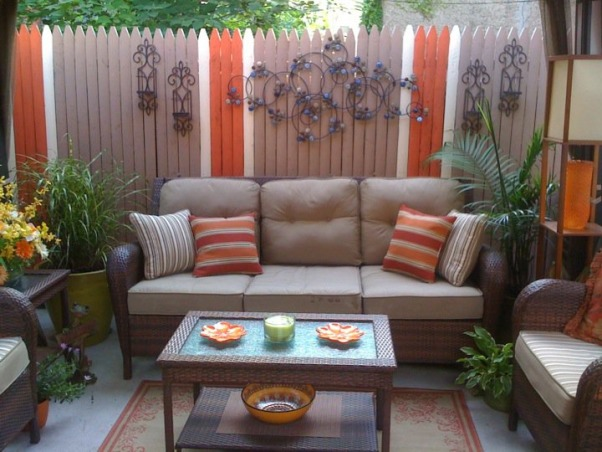 Small Inner City Patio, I live in downtown Philadelphia and wanted a cozy, fun and relaxing outdoor space...this is the result., The patio furniture set was from Sears , Patios & Decks Design