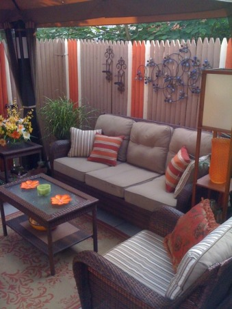 Small Inner City Patio, I live in downtown Philadelphia and wanted a cozy, fun and relaxing outdoor space...this is the result., The wall art is a combination from Home Goods and Bed Bath and Beyond , Patios & Decks Design