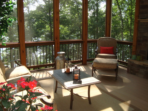 lake House Screen Porch, This is our screened in back porch at the lake house.  The lake is approximately 100 feet from the house.  This is one of our favorite spots. Hope you like it., Porches Design