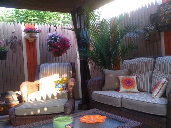 Small Inner City Patio, I live in downtown Philadelphia and wanted a cozy, fun and relaxing outdoor space...this is the result., Pillows were a combination of Pier One, Target and the ones that came with the patio furniture. , Patios & Decks Design