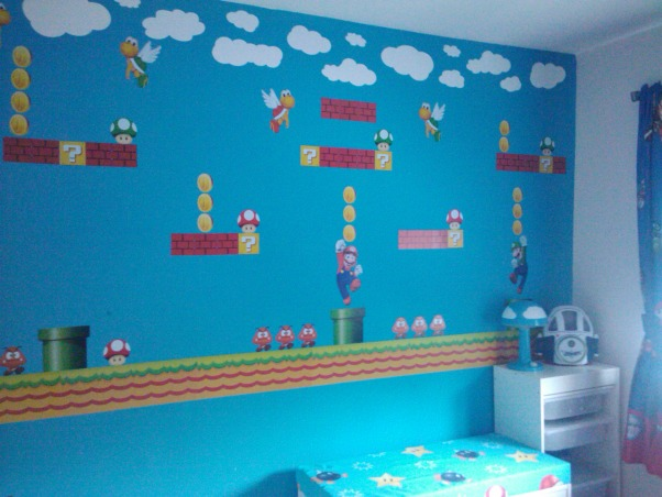 Super Mario Room, For my sons fifth birthday I surprised him with a Super Mario themed bedroom.  He has a relatively small room, 11ft x 10ft, however I think it turned out ok.  He loves it...I think it is a little busy, but my design sense is usually minimalistic so that could be why.  My favorite part of his room is his newly organized closet, prior to the room makeover the majority of his toys were in the closet and the majority of his clothes were in the master closet, however now, with his new found freedom he is dressing himself without assistance (yeah).  His favorite part of the room is his new reading bench.  He still has a few toys in the room, however the majority of his toys are housed in the play area, I will post soon.  I am not a huge fan of TVs in children's rooms (however my 16 & 17 year olds both have them) but I did concede and provided him with a small portable DVD player for the occasional use.  Let me know what you think, I am still not sure if I love it., Accent Wall - used Mario removable decals to create a Mario mural  , Boys' Rooms Design