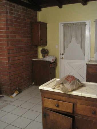 Before and after ...., this home was a complete fixer ! We really had to start with the kitchen. I love love my new kitchen. Its a small space and we really needed to make the most of it. We want from 1950's style to modern living. It's so easy to cook in, which we love to do :), This is a before pic of the back wall, which is the main wall in the kitchen. It had one tiny cabinet in the corner. , Kitchens