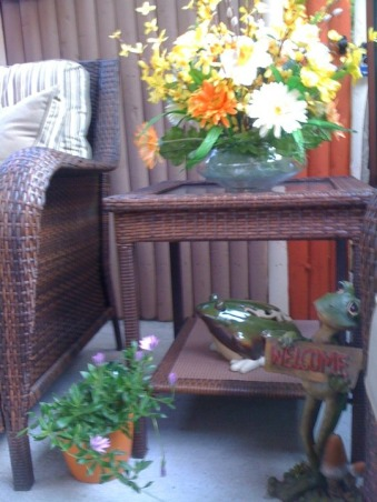 Small Inner City Patio, I live in downtown Philadelphia and wanted a cozy, fun and relaxing outdoor space...this is the result., I like frogs, what can I say. , Patios & Decks Design