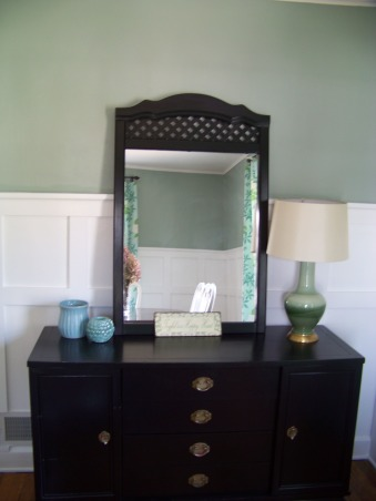 Board and Batten Dining Room, Transformed our dining room with mdf to make faux board and batten.  The white makes the whole space seem so much bigger!  We are moving so this is as far as I got on it.  , The painted dresser turned buffet.     , Dining Rooms