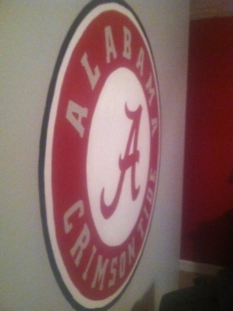 """Roll Tide Relaxation"", Wall paintings for an Alabama Football themed bedroom for a 7th grade boy., Alabama Emblem hand painted on opposite wall (more pictures to come) , Boys' Rooms Design"