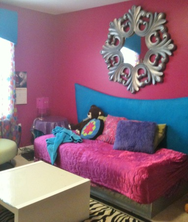 Pre-ten bedroom-designed by my 10 year old, My daughter loves interior design and she knows what she wants,  She selected every detail of her room decor. I had to repaint the walls because she said that the first coat of hot pink was not he right shade she had in mind., My 10 year old, selected every detail and fabric of her room. She was very firm with her choices and it trully reflects her. , Girls' Rooms Design