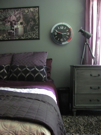 Passion for Purple, The teenage son of a friend of mine wanted his room redone in purple.  He was adamant about keeping most of his posters, having no headboard and leaving his bed on the floor.  This is what we came up with...  , Bedrooms