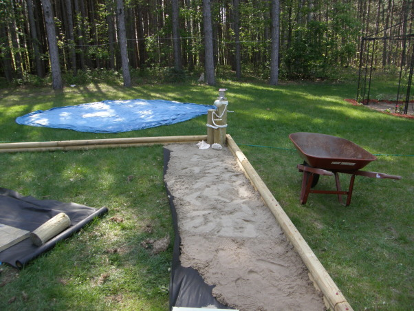 backyard beach, Backyard beach in the works please give me some ideas on putting in a tiki Bar somewhere on my beach I want something that will really be a wow to people. I want to do it by the fance maybe even painting on the fance... help me any ideas..., bring in the sand      , Yards Design