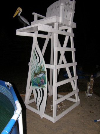 backyard beach, Backyard beach in the works please give me some ideas on putting in a tiki Bar somewhere on my beach I want something that will really be a wow to people. I want to do it by the fance maybe even painting on the fance... help me any ideas..., just for looks, life guard stand.. but what a view from up there       , Yards Design