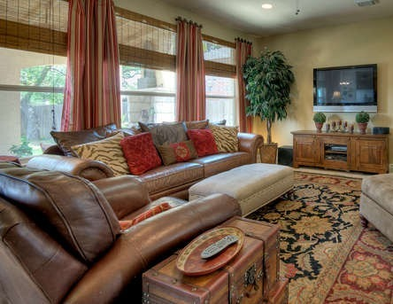 Red and Brown Living Room, Living Rooms Design