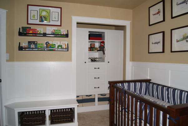 Built-in Wardrobe for Nursery, We are expecting our first child in August!!  When remodeling a small guest bedroom into his nursery, we decided to leave the closet doors off and design a built-in wardrobe instead to help open up the space.  We also added wainscoting to the room and a custom storage bench to match the wardrobe.  Here's the finished product!, We are expecting our first child in August!!  When remodeling a small guest bedroom into his nursery, we decided to leave the closet doors off and design a built-in wardrobe instead to help open up the space.  We also added wainscoting to the room and a custom storage bench to match the wardrobe.  Here's the finished product! , Closets & Utility