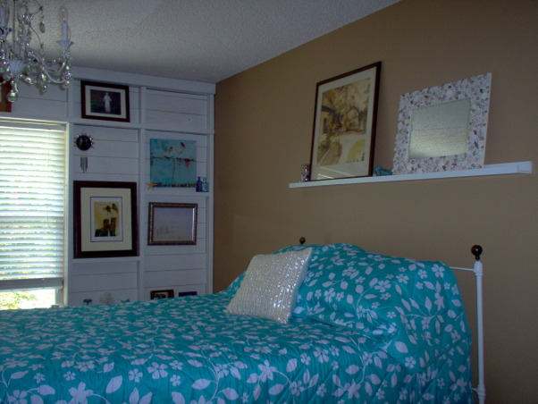 Master bedroom changes, I saw a wall on The Lettered Cottage that I loved and decided to have my wall changed too. I wanted a beachy feel to my new space. I would love comments....good or bad!  Thanks to Layla and Kevin Palmer! , This is my room when it was still brown.           , Bedrooms