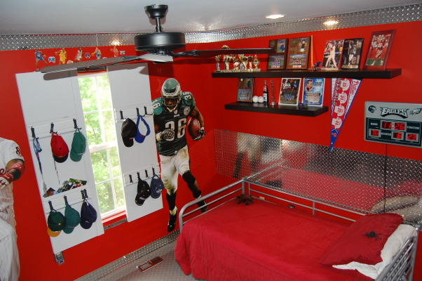 Little man cave, Sports theme with garage accents, sliding window panels, Boys' Rooms Design